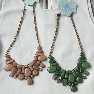Modcloth pink green statement necklaces stone